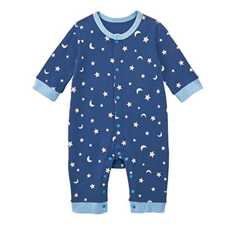 [ベルメゾン] 前開き カバーオール パジャマ ネイビー系星柄 サイズ:70
