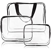 3pcs Crystal Clear Cosmetic Bag TSA Air Travel Toiletry Bag Set with Zipper Vinyl PVC Make-up Pouch Handle Straps for Women Men Waterproof Packing Organizer Storage Diaper Pencil Bags Black