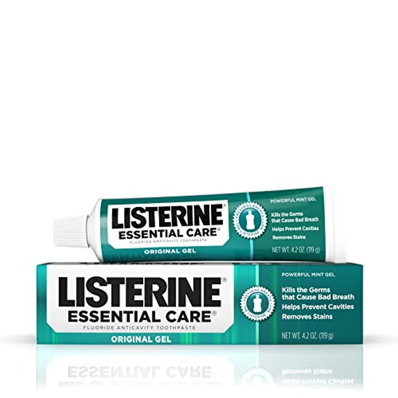 一節余暇失われた海外直送品Listerine Essential Care Toothpaste Gel Original, Powerful Mint 4.2 oz by Listerine