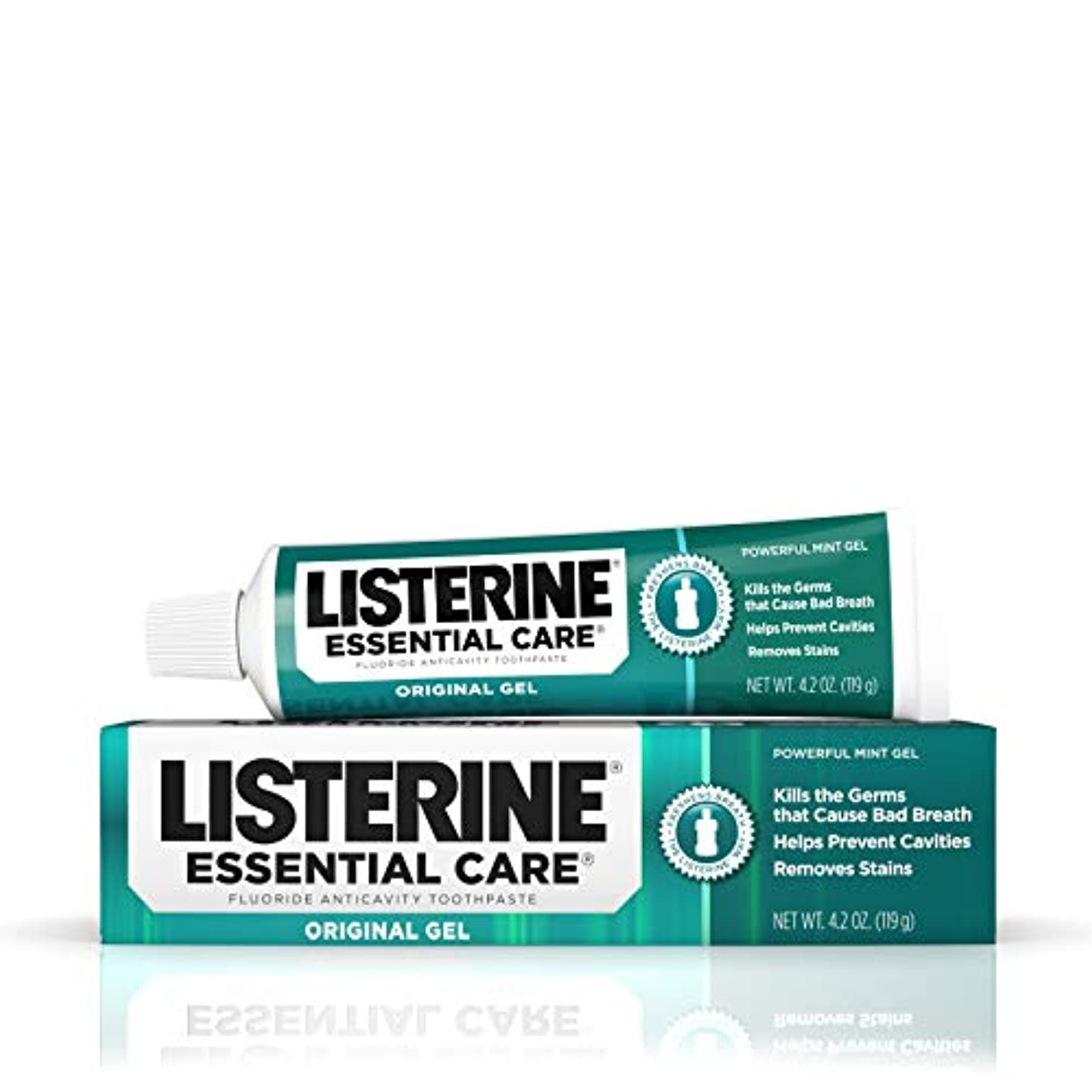 スリーブ多用途保証海外直送品Listerine Essential Care Toothpaste Gel Original, Powerful Mint 4.2 oz by Listerine