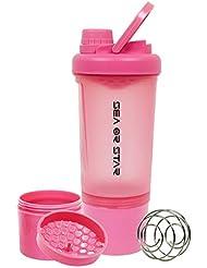 SEA or STAR プロテインシェーカーボトル 17オンス シェーカーボール ミキシンググリッド含まれ 屋外フィットネス用のストレージ(ピンク)