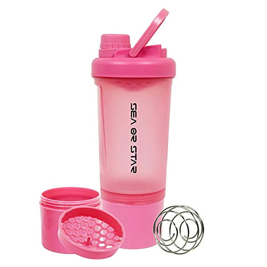 涙売るグリップSEA or STAR プロテインシェーカーボトル 17オンス シェーカーボール ミキシンググリッド含まれ 屋外フィットネス用のストレージ(ピンク)