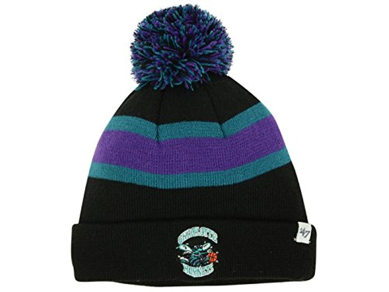 用心するカブ作成するCharlotte Hornets NBA 47 BrandユースBreakaway Cuffed Pomブラックビーニー帽子
