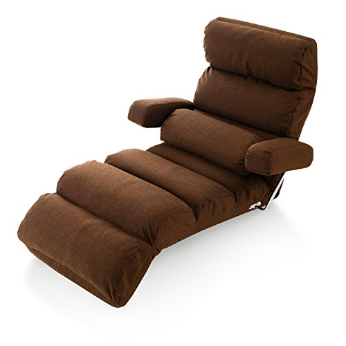 LOWYA (ロウヤ) 座椅子 肘掛け付き 長座椅子 14段階 リクライニング 3点可動 ミニクッション付き おしゃれ ソファ生地 ダークブラウン 新生活