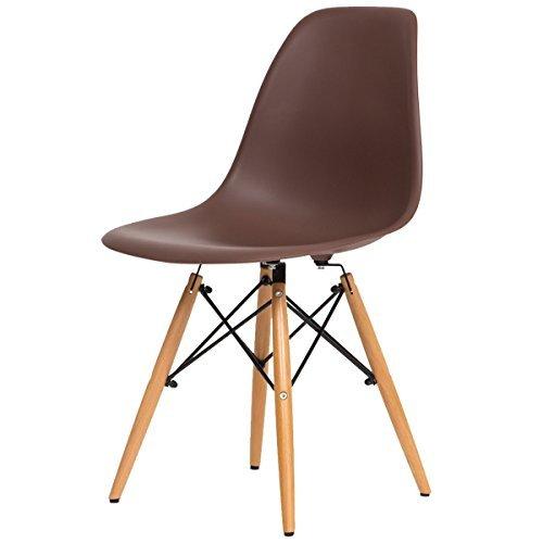 【不朽の名作 イームズチェアー】人気の木脚(DSW)ダイニングチェアー チャールズ・レイ・イームズ作品 リプロダクト 世界で有名なデザイナーズ椅子 訳あり (ブラウン色)
