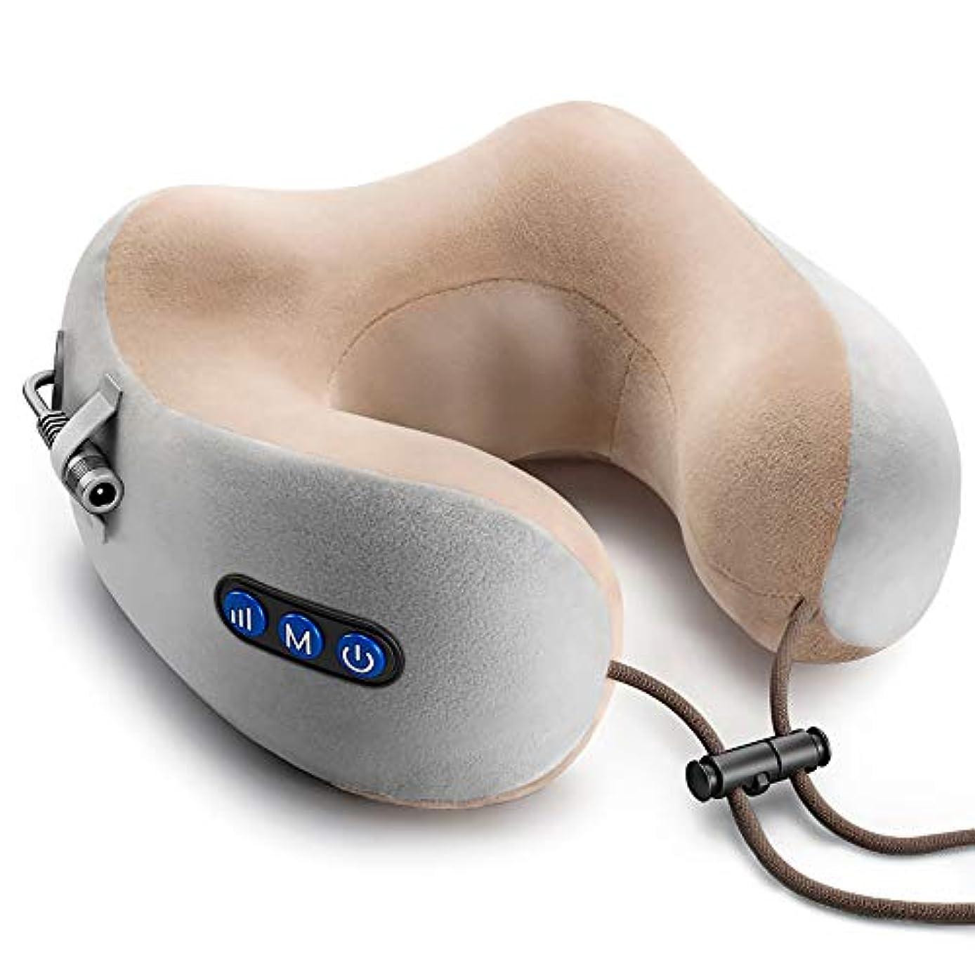 偏心鉛葬儀首マッサージャー ネックマッサージャー U型 USB充電式 3モード 低反発ネックマッサージピロー 自動オフ機能 肩こり ストレス解消 多機能 人間工学 日本語取扱説明書付 プレゼント