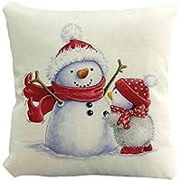 クリスマスピローケースかわいい雪だるらプリンティング染色ソファベッドホームインテリアピローケースXmas 45x45cmスクエアフラックスクッションカバー,45x45cm,C