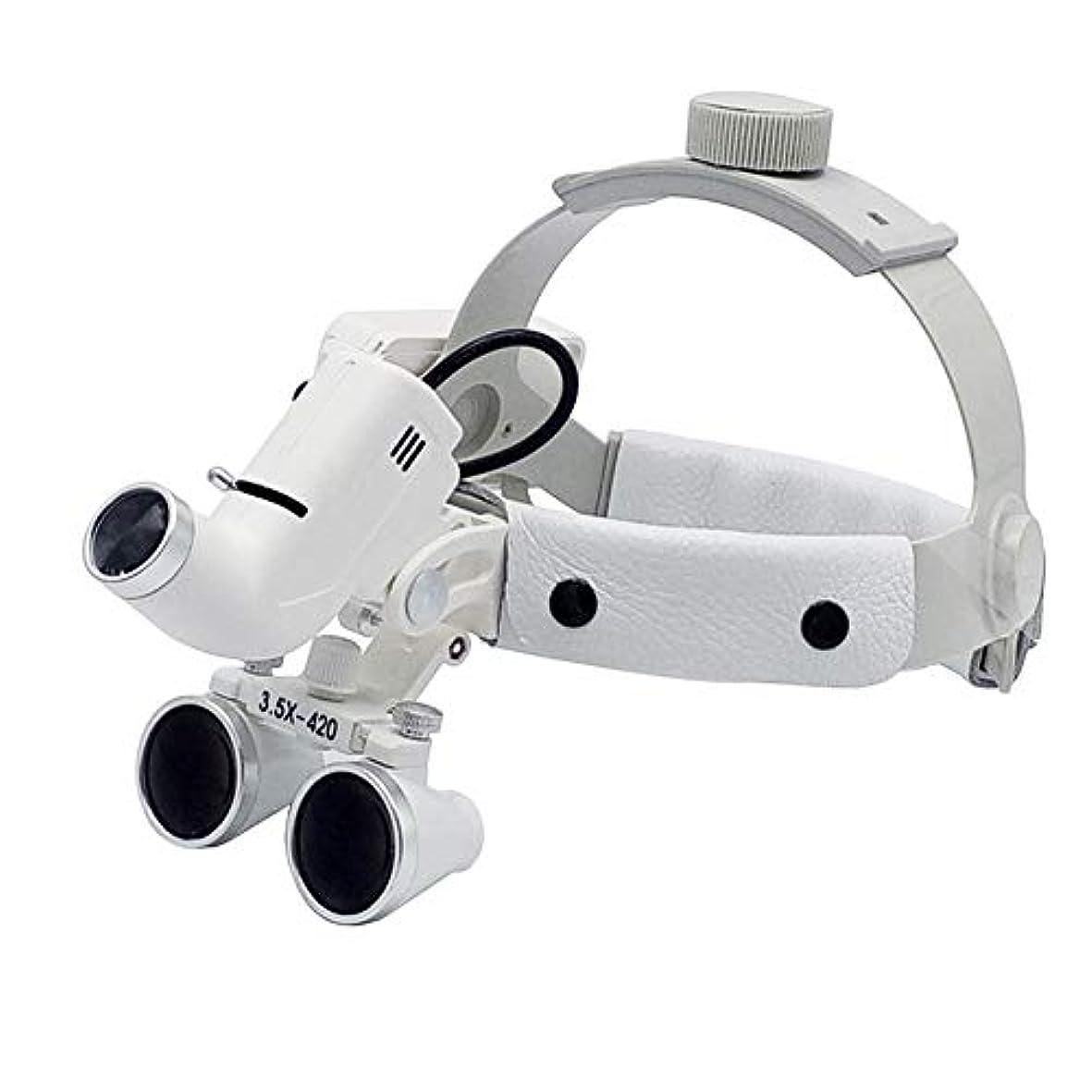 差脆い洞察力LED外科ヘッドライト3.5X420mmレザーヘッドバンド双眼ルーペメガネヘッドバンド拡大鏡高輝度ランプ