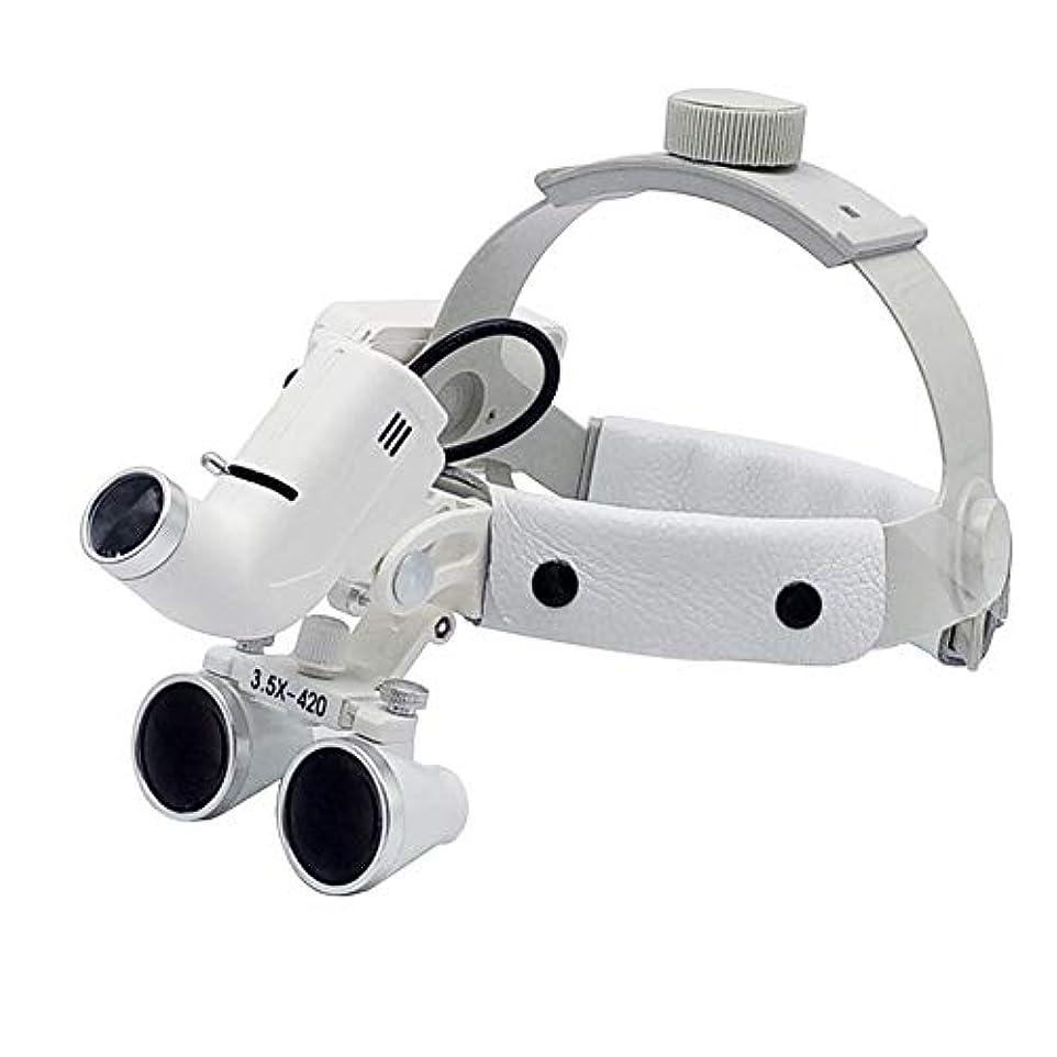 アダルトレンダー牛LED外科ヘッドライト3.5X420mmレザーヘッドバンド双眼ルーペメガネヘッドバンド拡大鏡高輝度ランプ