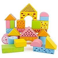 大きなビルディングブロック 子供のおもちゃ 木製知育啓発 (色:マルチカラー、サイズ:L)