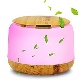 アロマディフューザー アロマ加湿器 超音波式 卓上加湿器 七色変換LEDライト 空気清浄機 間接照明 空焚き防止 小型木目調 アロマライト お部屋/オフィス//温泉など適用 誕生日プレゼント 250mL