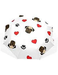 AOMOKI 折り畳み傘 折りたたみ傘 日傘 手開き 三つ折り 晴雨兼用 梅雨対策 UVカット 耐強風 8本骨 男女兼用 犬柄 ハート