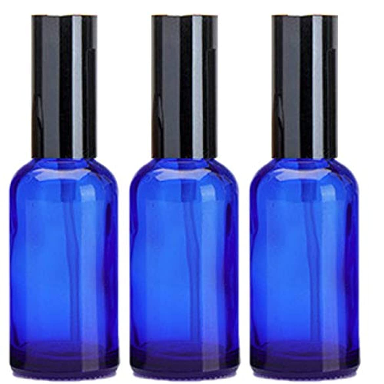 自伝彫刻アルファベット順乳液 ボトル 3本セット クリーム容器 アロマクリーム ハンドクリーム 遮光瓶 ガラス 瓶 アロマ ボトル ビン 保存 詰替え 青色 ブルー (30m?3本)