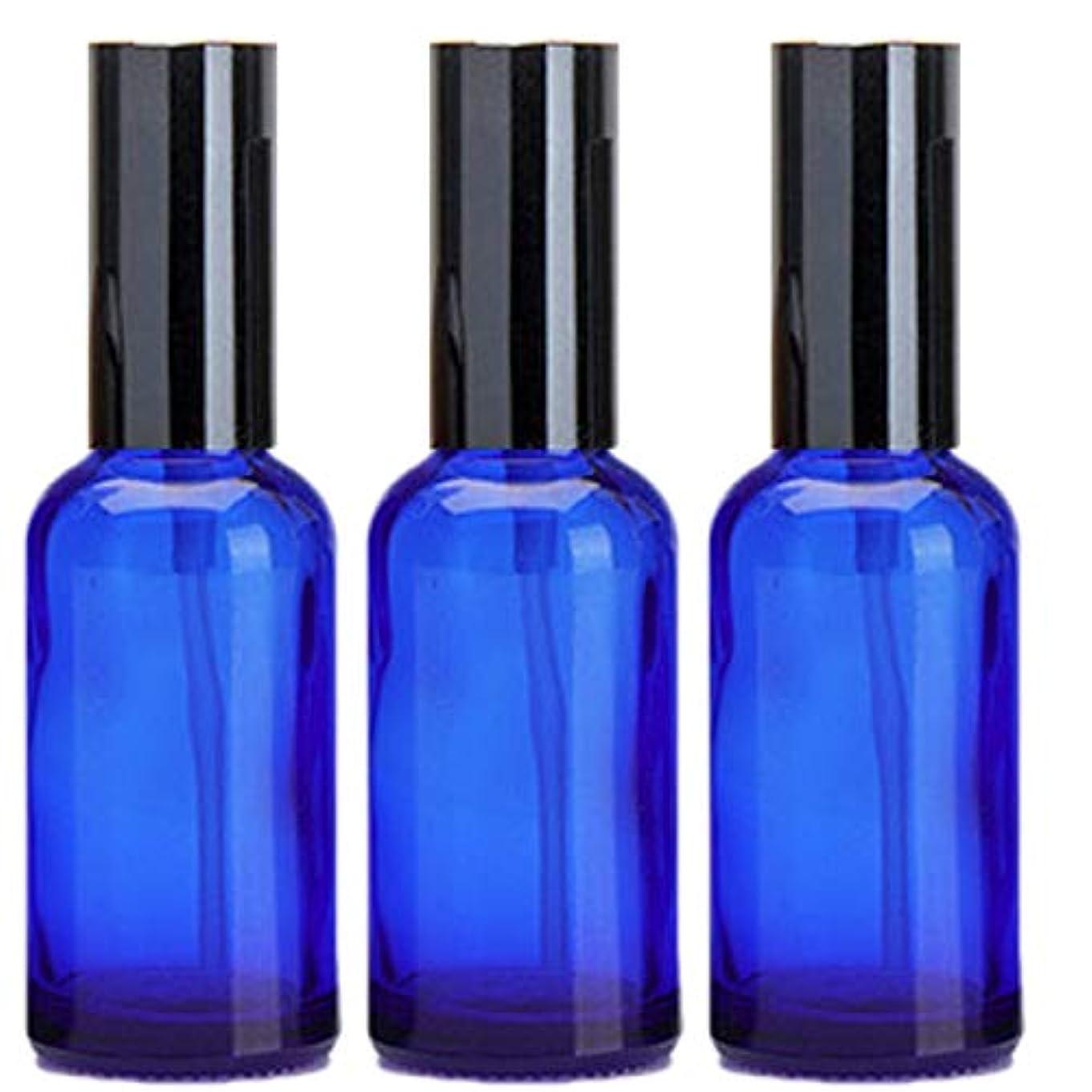 番号再開偽造乳液 ボトル 3本セット クリーム容器 アロマクリーム ハンドクリーム 遮光瓶 ガラス 瓶 アロマ ボトル ビン 保存 詰替え 青色 ブルー (30m?3本)