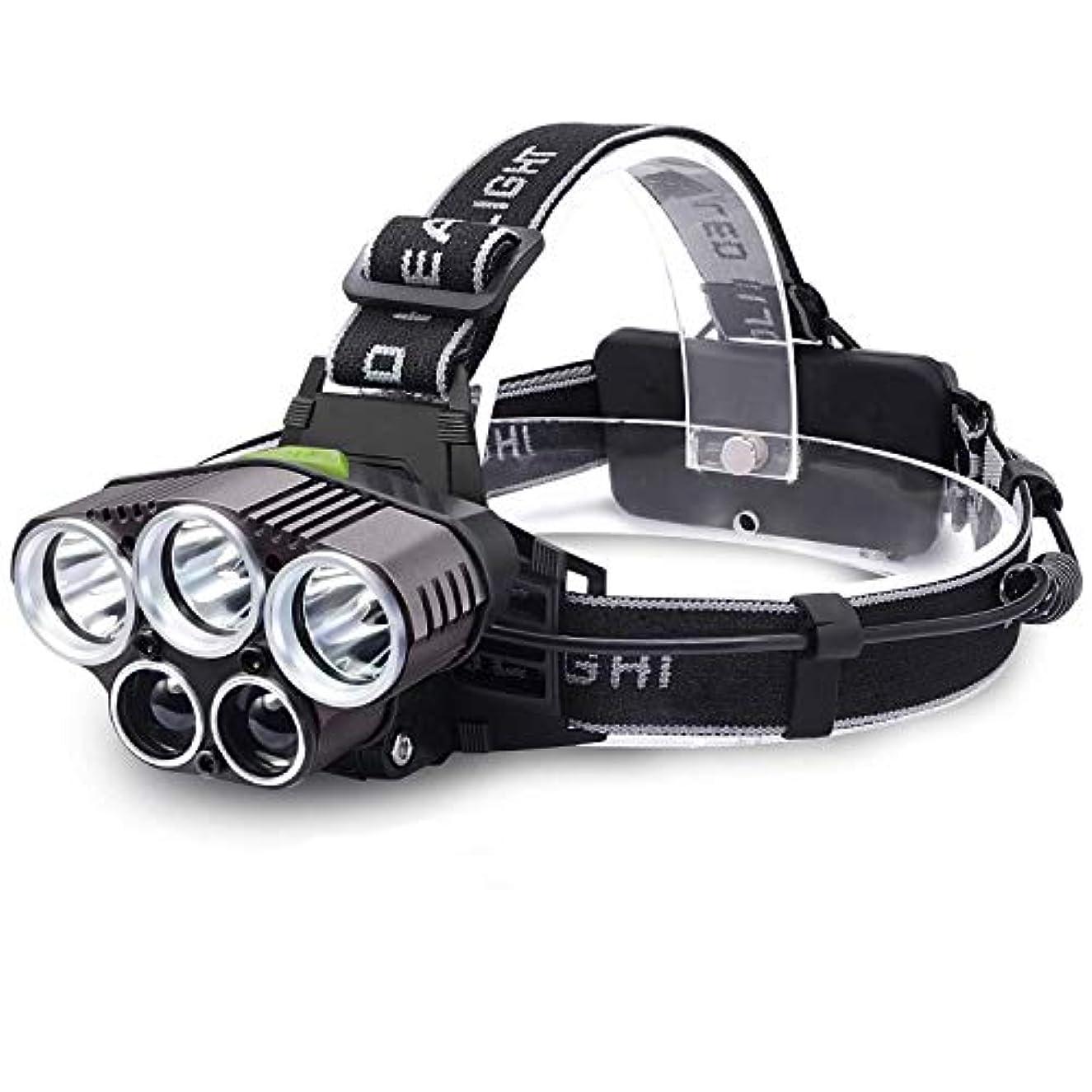 垂直ウナギナンセンス5つのライト多機能LEDヘッドライト、屋外の強い15000ルーメン固定焦点長距離ヘッドトーチスーパーブライトナイトフィッシングライトキャンプ用ランナー、ハイキング、釣り