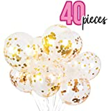40PCS Gold Confetti Balloons & Rose Gold Confetti Balloons for Birthday Parties, Wedding Decorations, Anniversaries, Bachelorette Parties, Bridal Shower, Graduations, Baby Shower Party.
