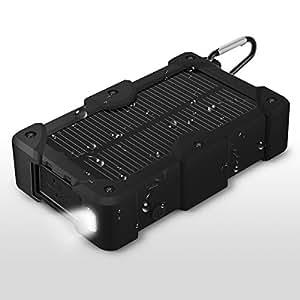 EC Technology 10000mAh 大容量 モバイルバッテリー ソーラーチャージャー ソーラーバッテリー ソーラーパネル防水設計 2USBポート 防災用(ソーラーで充電可)カラビナ付き iPhone/iPad/Android各種スマホ / タブレットなどに対応(ブラック)