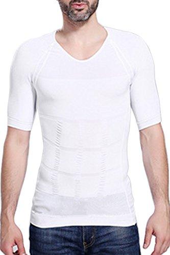 B-WINDY 加圧インナー コンプレッションウェア 無地 半袖 補正下着 着圧 Tシャツ メンズ(M,ホワイト)