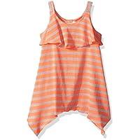 Youngland Toddler Girls' Knit Striped Popover Dress with Sharkbite Hem, Coral/Multi