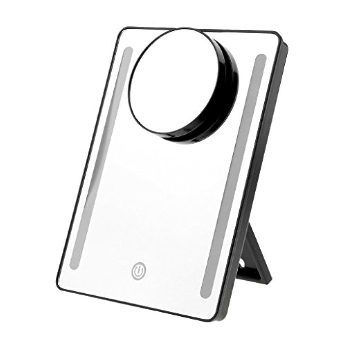 後観察するコンサートメイクアップミラー LEDタッチライト USB充電/電池 両方対応可 メイクアップ 化粧ミラー 10x拡大鏡 拡大ミラー 2色選べる - ブラック, 説明したように