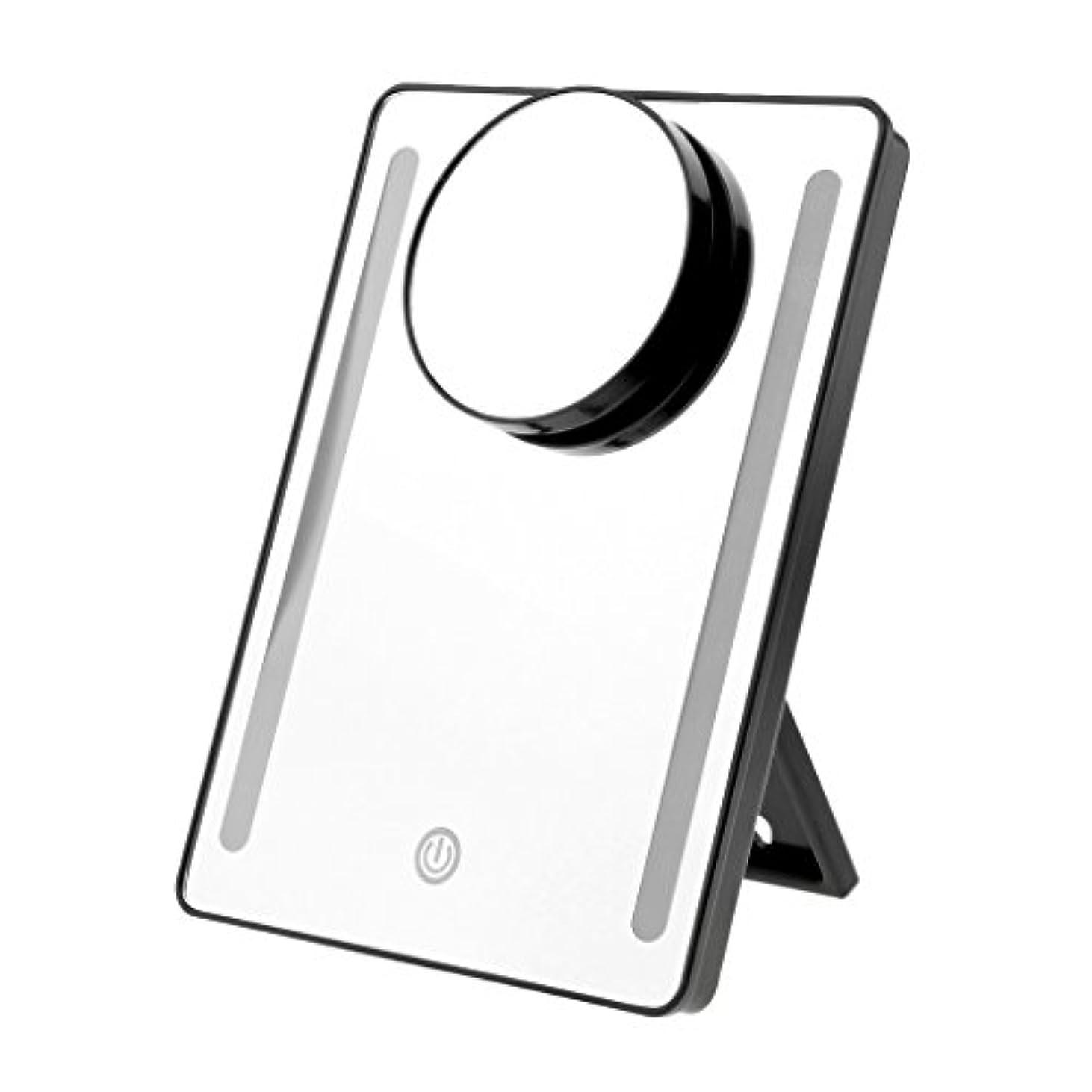 水を飲む放出正規化メイクアップミラー LEDタッチライト USB充電/電池 両方対応可 メイクアップ 化粧ミラー 10x拡大鏡 拡大ミラー 2色選べる - ブラック, 説明したように