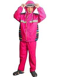 SUAIARTCOLE レインコート 子供用 オーバーオール オールインワン 切り替えレインスーツ パンツ式 ジップ付き 反射テープ付きパックカバー付き