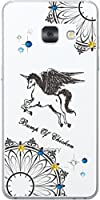 ギャラクシーフィール ケース Galaxy Feel SC-04J カバー スワロケース 名入れ キラキラ デコケース ブラックプリント ユニコーン