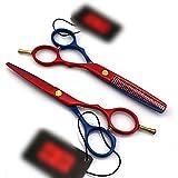 カラーペイントシリーズ理髪はさみ、5.5インチフラット+歯はさみセット モデリングツール (色 : Red and blue)