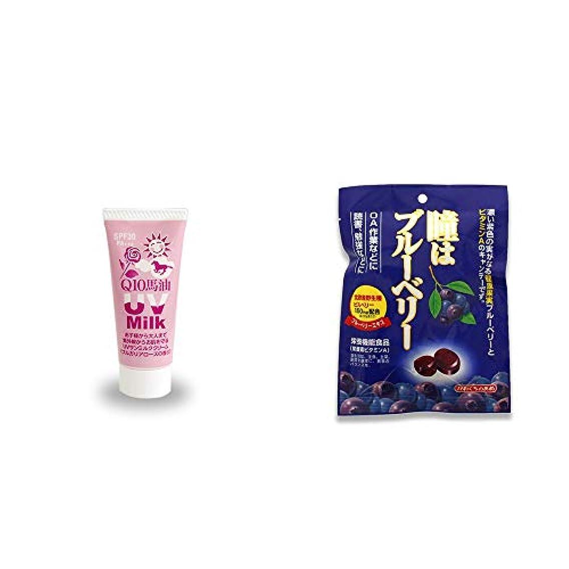 リフト震える揃える[2点セット] 炭黒泉 Q10馬油 UVサンミルク[ブルガリアローズ](40g)?瞳はブルーベリー 健康機能食品[ビタミンA](100g)