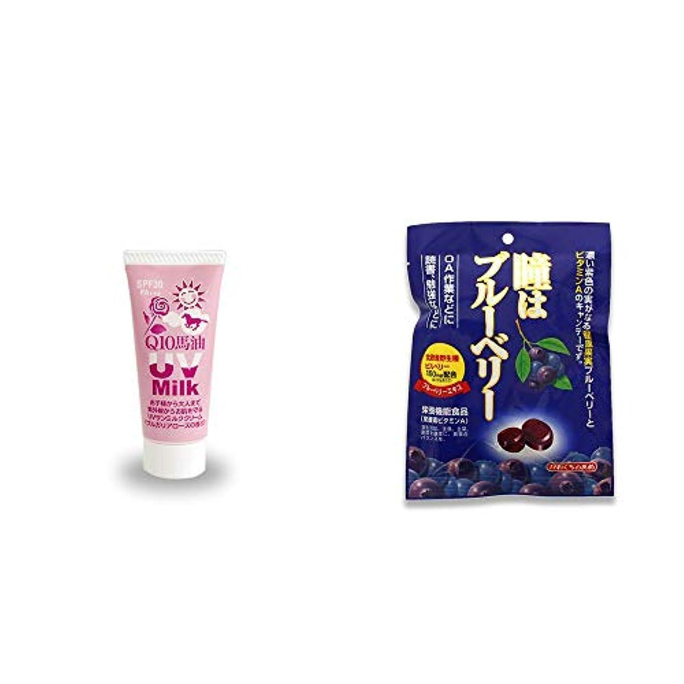 [2点セット] 炭黒泉 Q10馬油 UVサンミルク[ブルガリアローズ](40g)?瞳はブルーベリー 健康機能食品[ビタミンA](100g)