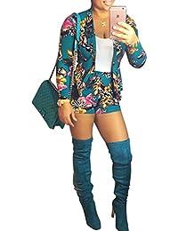 Blansdiレディース長袖フラワープリントジャケットハイウエストショーツ2ピーススーツセット衣装