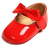 SOFMUO Baby Girls Glitter Mary Jane Flats Non-Slip Soft Sole Toddler First Walkers Princess Dress Shoes