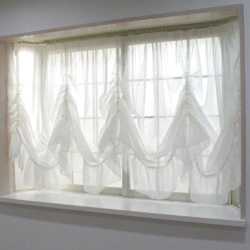 出窓用カーテン スタイルレース /トリコット/バルーン型135cm丈・腰窓サイズ/ 製品サイズ:幅400×丈135[最長部]