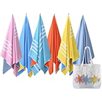 Microfiber Beach Towel & Canvas Beach Bag - Two Tone (2in1) Quick Dry Towel/ Blanket, Lightweight & Compact, Sand-free (160cm x 80cm / 63 x 31 inches) with an oversized ultra-light Canvas beach bag, Perfect for: the beach, pool, gym, travel, yoga, camping, summer festivals, and Gift