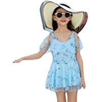 Comfortable Girls' Swimwear Kids Swimwear Women's One-Piece Skirt Lace Cute Girl Swimwear Smooth (Color : Blue, Size : M)