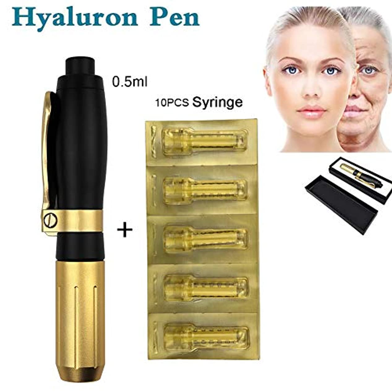 カトリック教徒弾薬弾薬0.5ml美容ヒアルロン酸ペン、しわを取り除くヒアルロンガンアトマイザーヒアルロンペンリフティングリップホワイトニングおよび肌の若返り、10アンプルヘッド付き