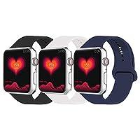 IYOU スポーツバンド Apple Watchバンド 38mm 42mm ソフトシリコン交換用スポーツストラップ Apple Watchシリーズ3/2/1に対応 その他のカラーを選択 38MM, S/M