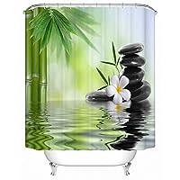 WZYMNYL 中国の田舎風竹の噴水と水の花で浴室の装飾のためのファブリックシャワーカーテンをリラックス