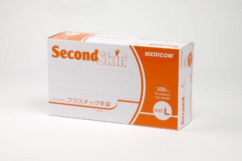 メディコム セコンドスキン プラスチック手袋 パウダーイン Lサイズ 100枚