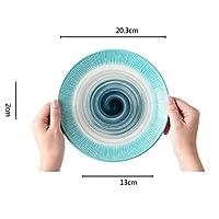 ディナープレート、ホームクリエイティブラウンドウエスタンプレート、ヨーロッパのセラミックステーキプレート(8インチ) (Color : SET OF 4)