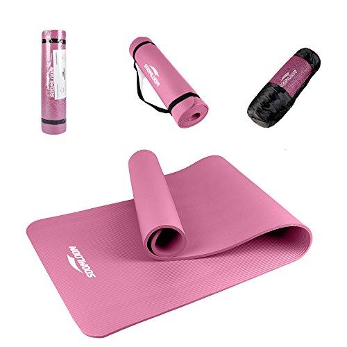 Soomloom ヨガ ピラティス マット トレーニングマット エクササイズマット 厚み約10mm ニトリルゴム (ピンク)