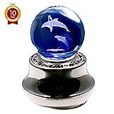 【ラッピング済み】 曲目:星に願いを 光って回るオルゴール LEDライト内蔵 3Dクリスタル ペアイルカ