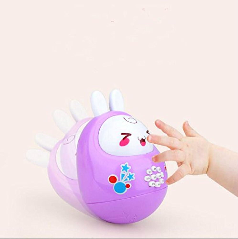 wanrane Cute Kids Roly - Poly Toy Fun Rattleウサギソフト耳スイングNodding人形タンブラーMusicalおもちゃ(ランダムカラー)