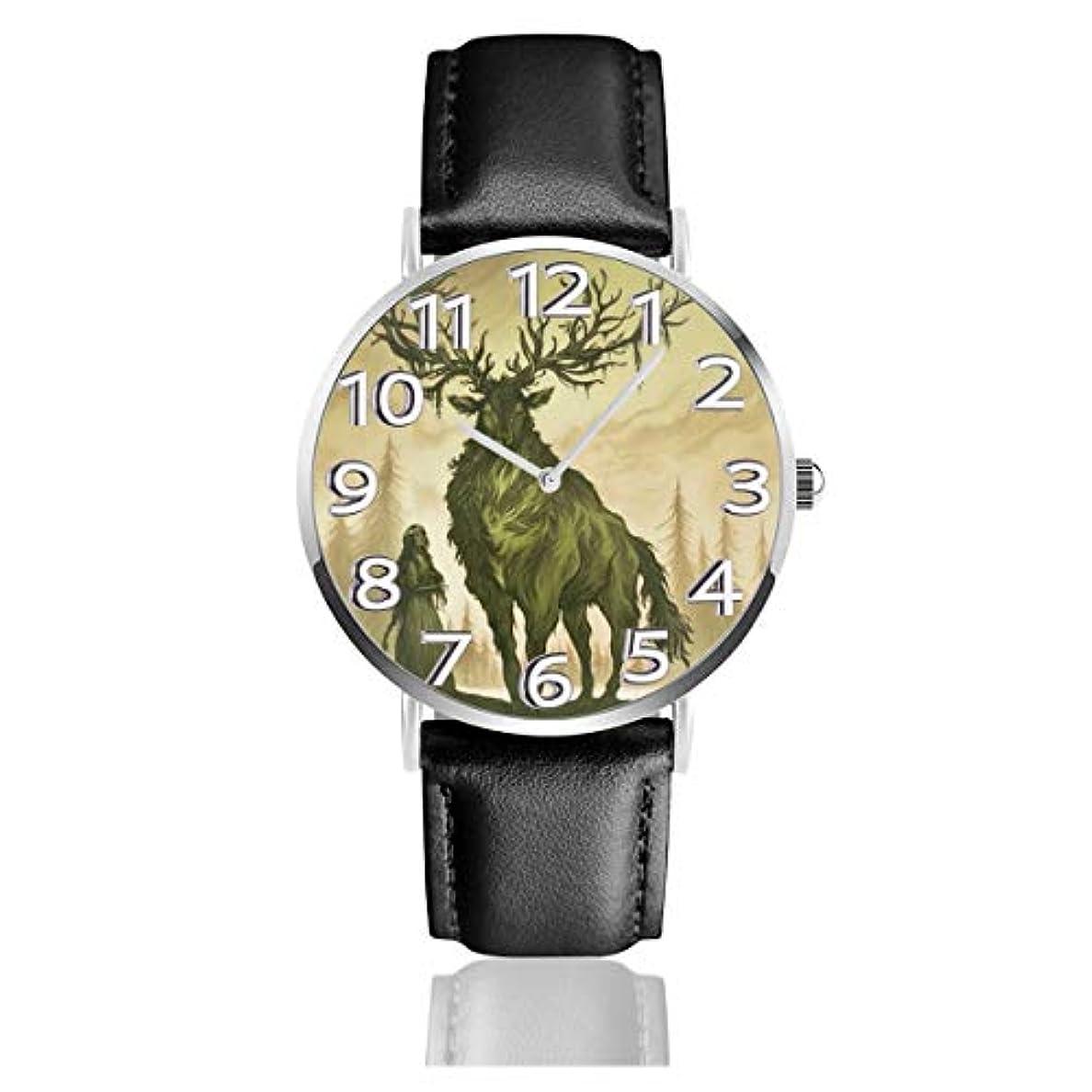 ミルク彫刻くまヘラジカの女の子クリスマスのトナカイベルトウォッチ 腕時計 おしゃれ 女性 レザーベルト ウォッチ クォーツ 時計 男女兼用