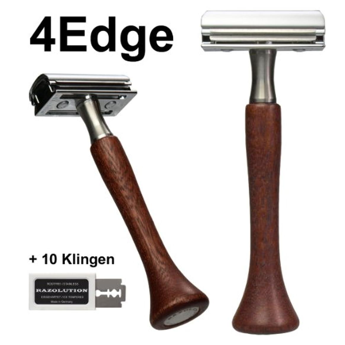 政策凶暴な冷ややかなRAZOLUTION 4Edge Safety razor, Mahogany handle