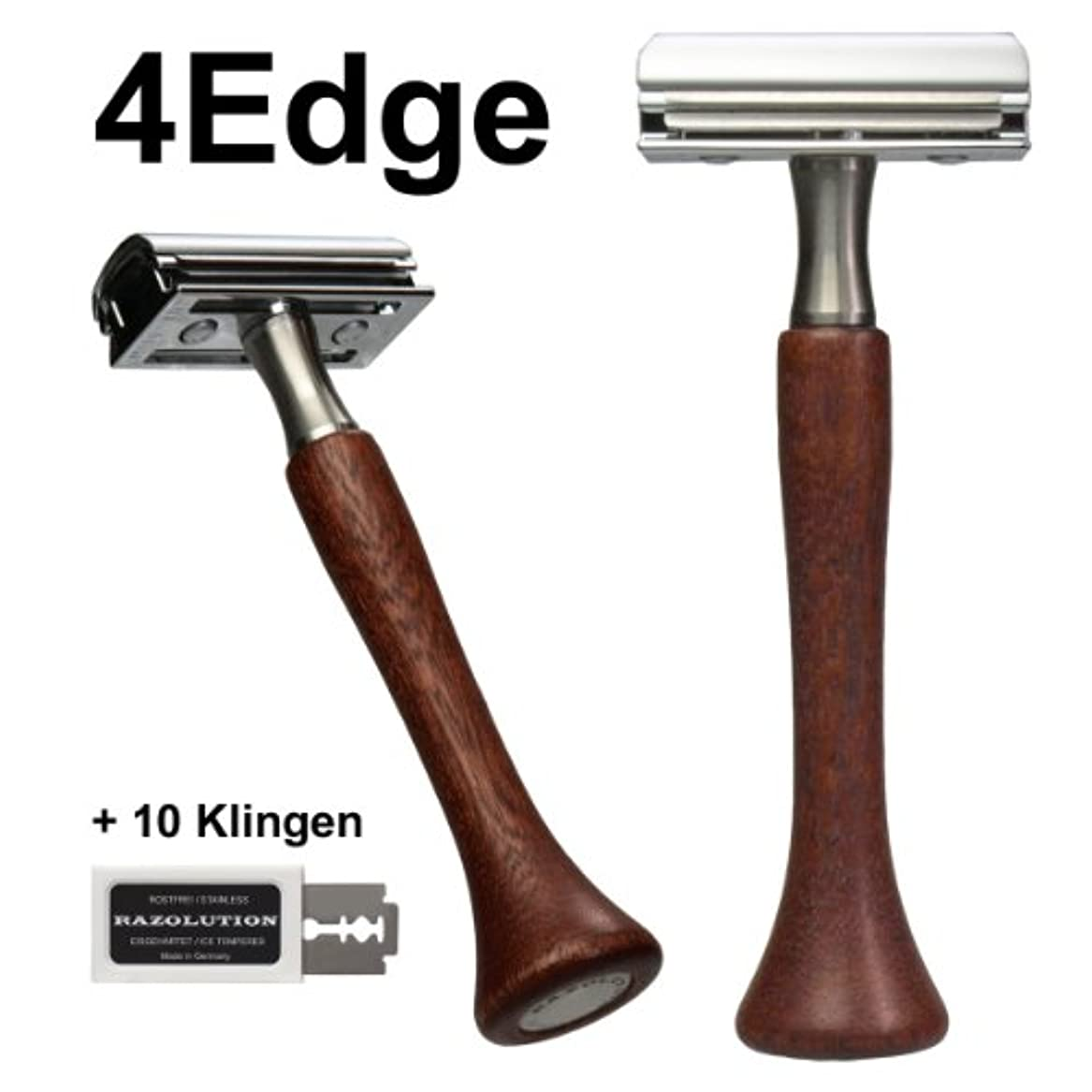 ポット蛇行フクロウRAZOLUTION 4Edge Safety razor, Mahogany handle