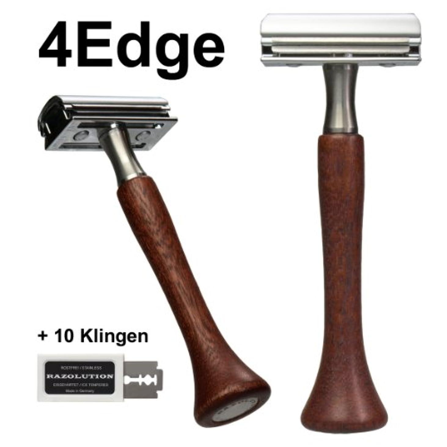 無秩序チャンピオンシップブースRAZOLUTION 4Edge Safety razor, Mahogany handle