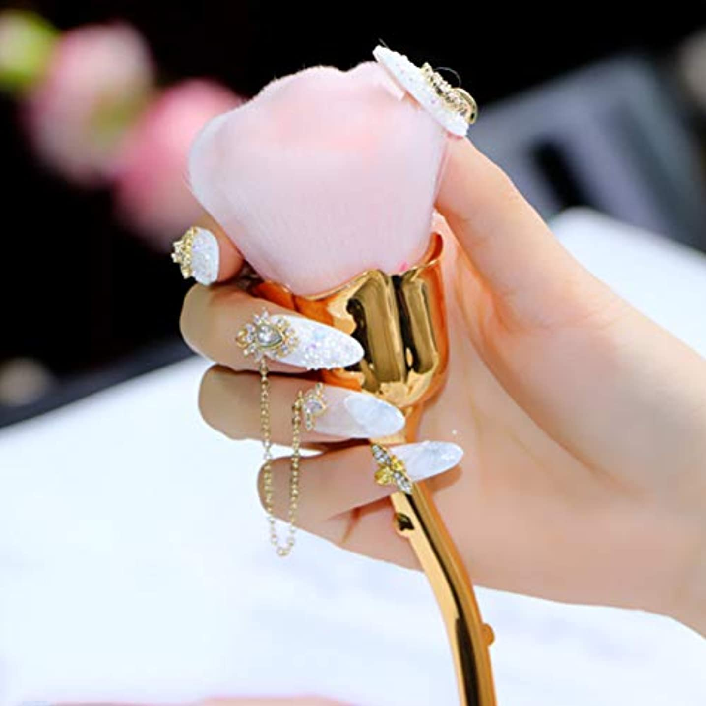 Daimai 化粧ブラシ ネイルダストブラシ ピンク バラ花 ブラッシュブラシ ネイルダストブラシ ローズブラシ ネイルアートクリーニングブラシ ブラッシュパウダーブラシ