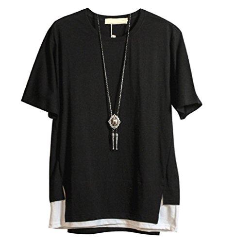 【Smile LaLa】 メンズ tシャツ カットソー トップス 半袖 大きい サイズ オシャレ コーデ 重ね着 シンプル