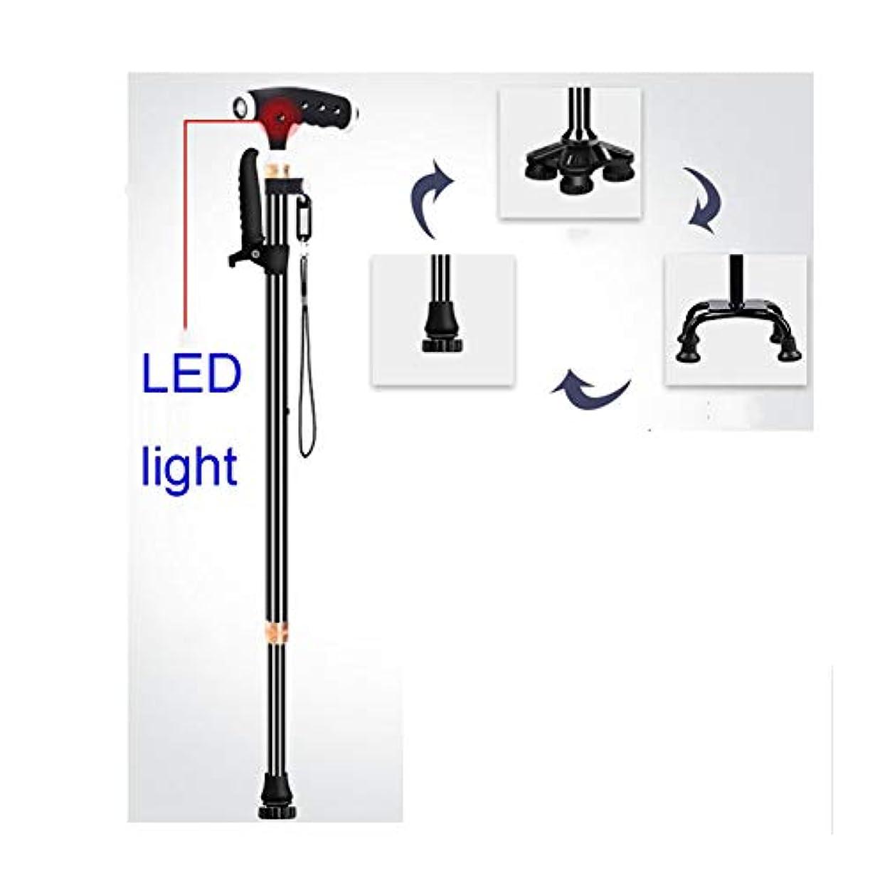 滴下気球ジャングル高齢者の男性や女性のための杖アルミ合金の杖10 LEDライト付き調節可能な杖3基底荷重150kg障害のある杖